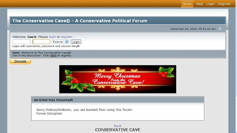 Screenshot of Conservative Cave.com - Sorry RodneyOhebsion, you are banned from using this forum! Forum Disruption
